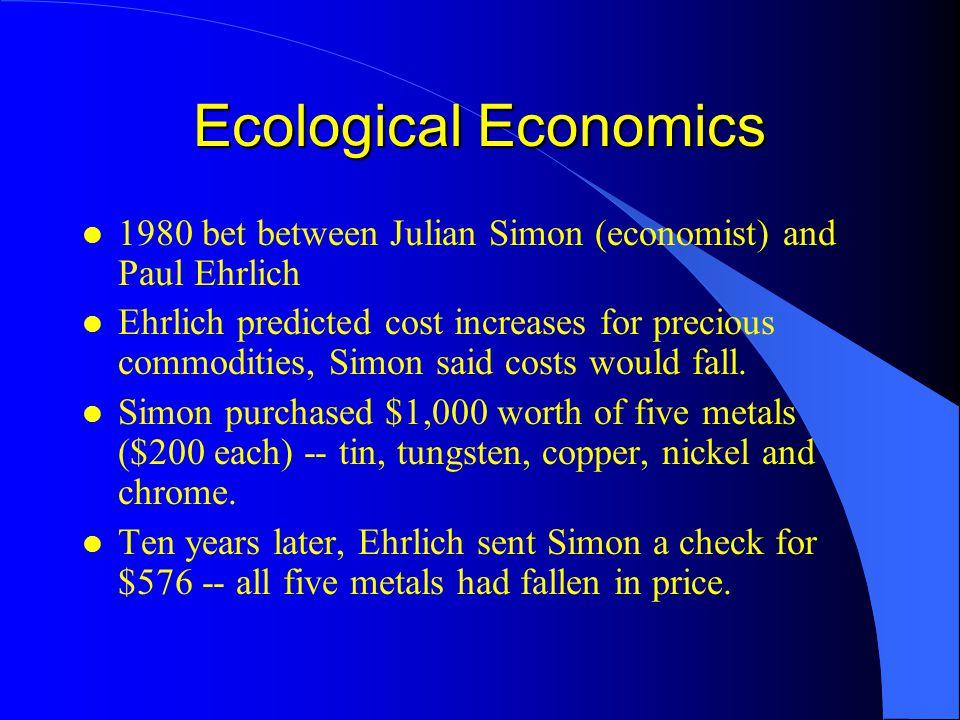 Ecological Economics 1980 bet between Julian Simon (economist) and Paul Ehrlich.
