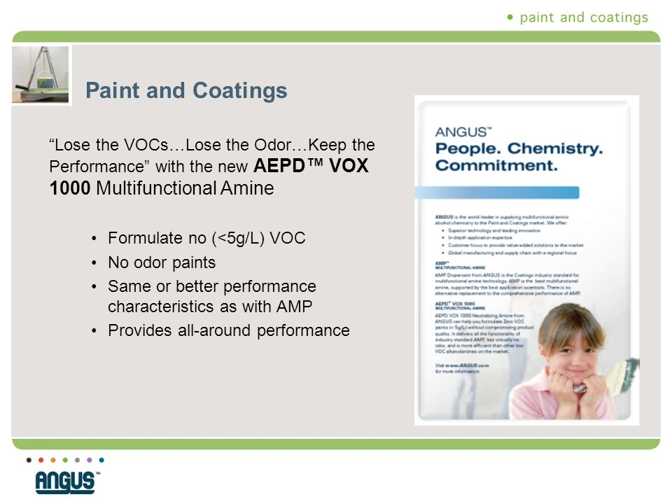 Paint and Coatings Lose the VOCs…Lose the Odor…Keep the Performance with the new AEPD™ VOX 1000 Multifunctional Amine.