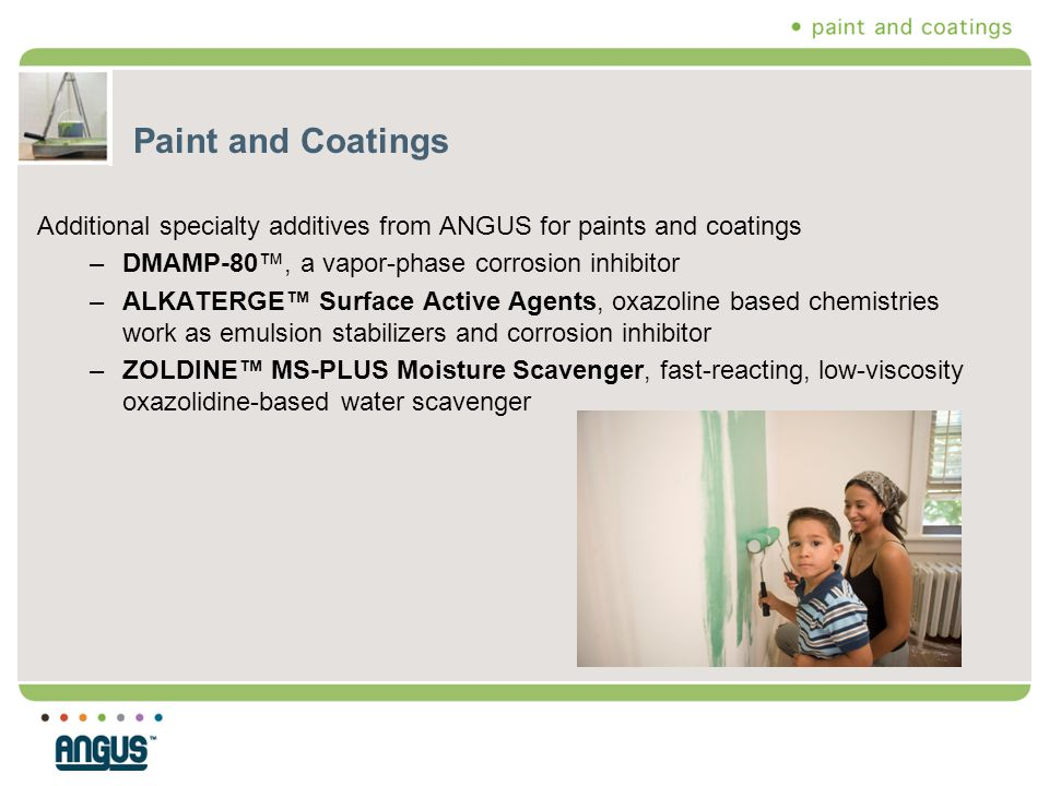 Paint and Coatings Additional specialty additives from ANGUS for paints and coatings. DMAMP-80™, a vapor-phase corrosion inhibitor.