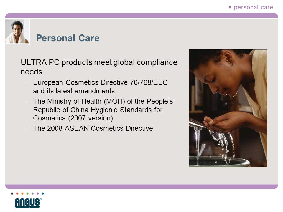 Personal Care ULTRA PC products meet global compliance needs