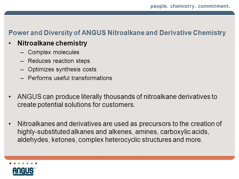 Power and Diversity of ANGUS Nitroalkane and Derivative Chemistry