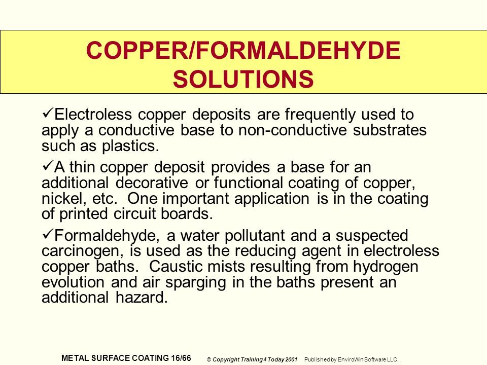 COPPER/FORMALDEHYDE SOLUTIONS