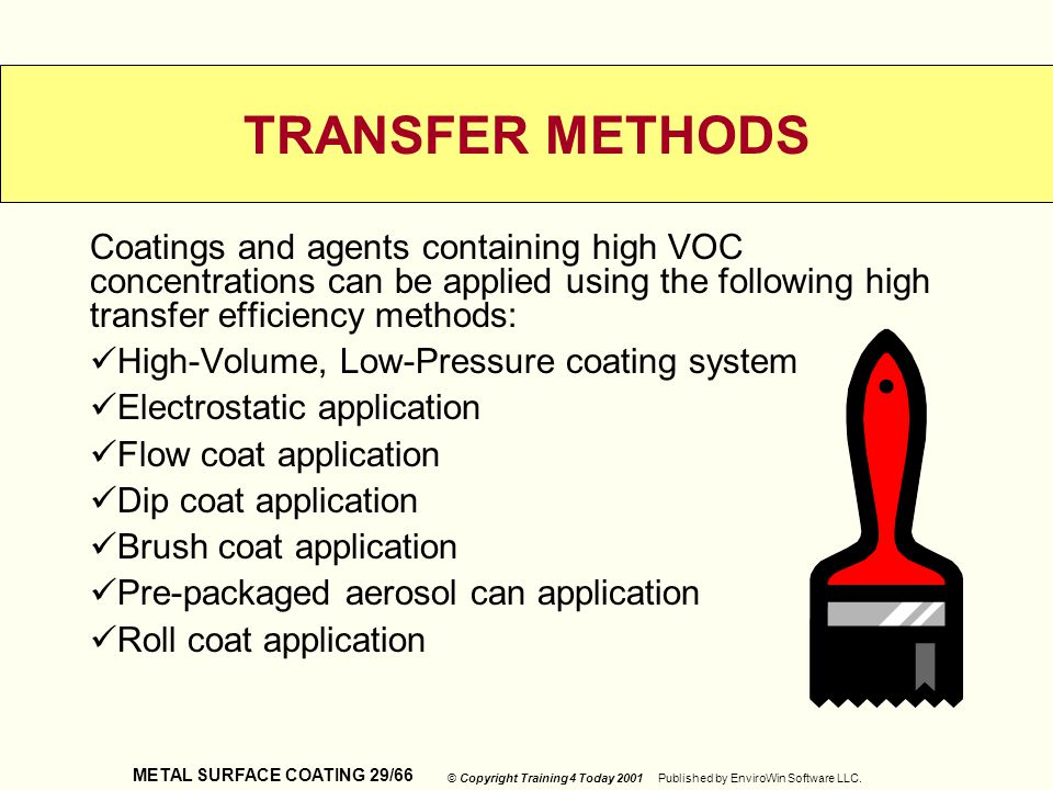 TRANSFER METHODS Coatings and agents containing high VOC concentrations can be applied using the following high transfer efficiency methods: