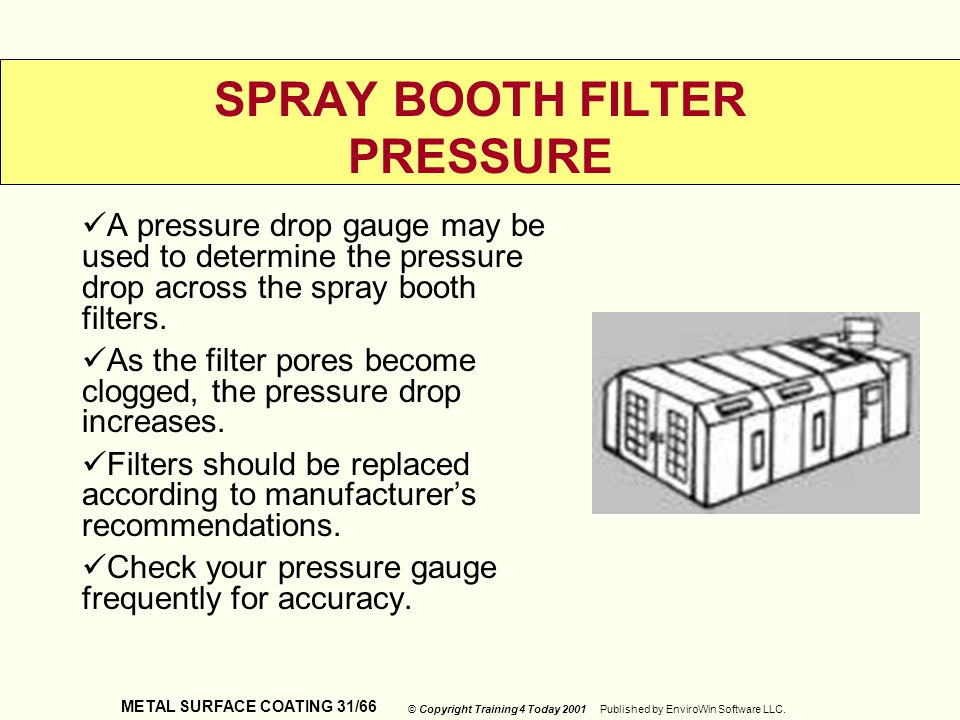 SPRAY BOOTH FILTER PRESSURE