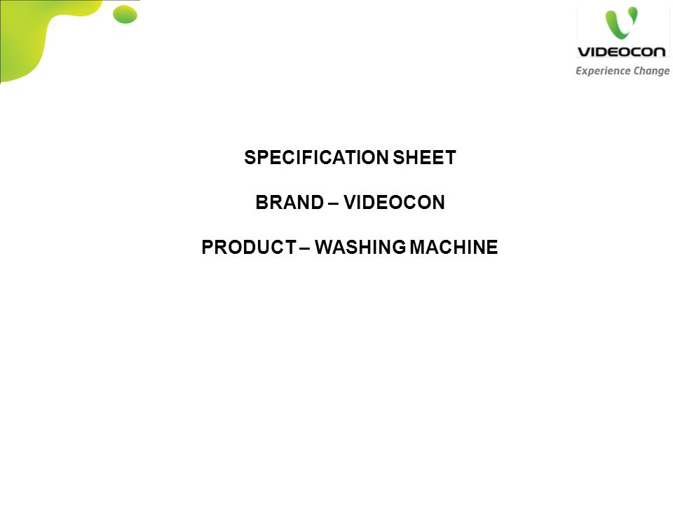 PRODUCT – WASHING MACHINE