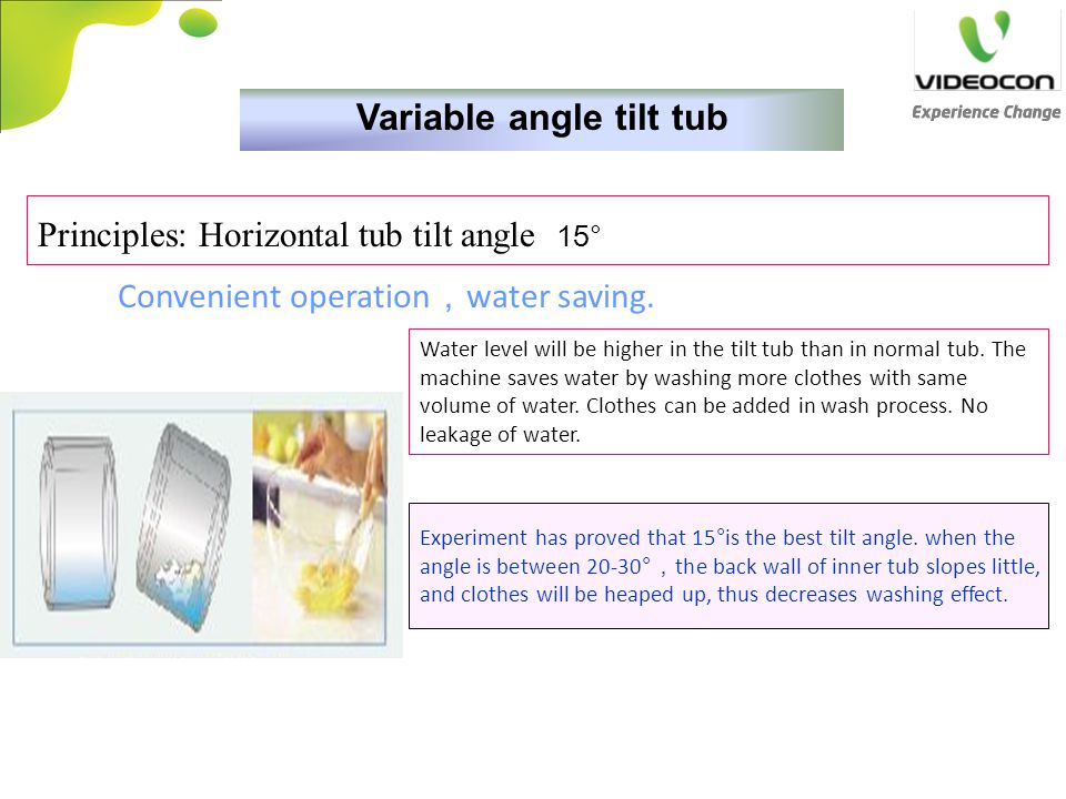 Variable angle tilt tub
