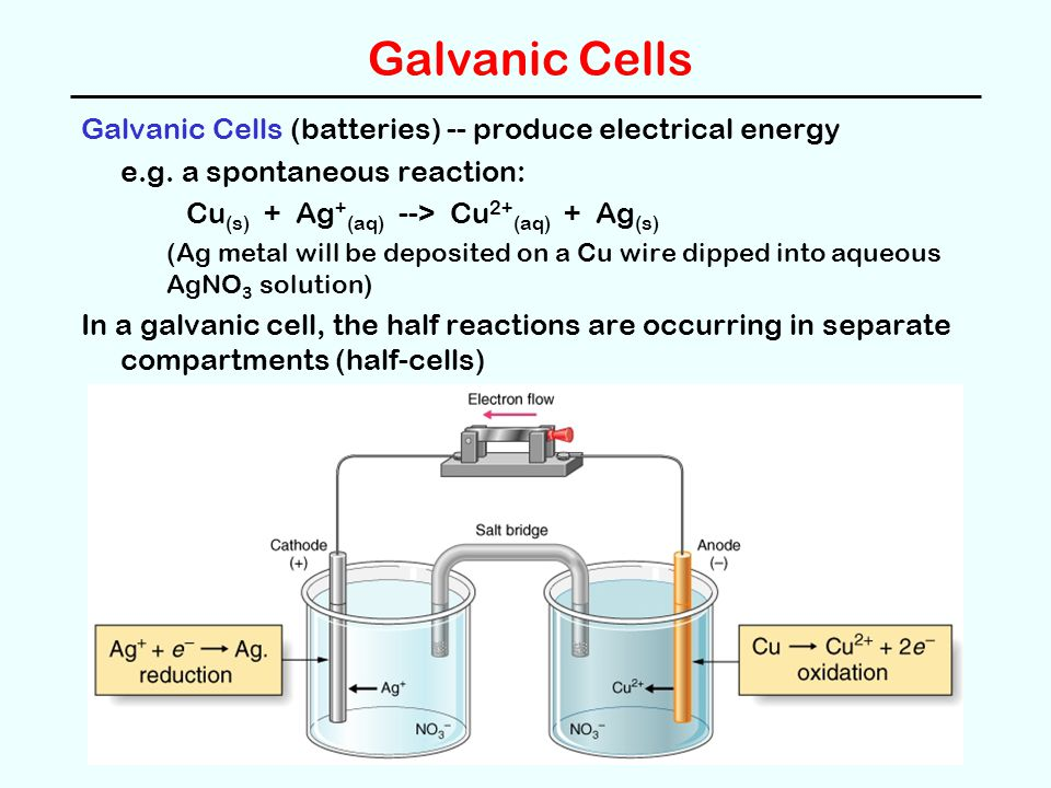 Galvanic Cells Galvanic Cells (batteries) -- produce electrical energy