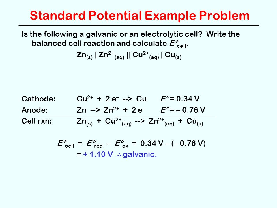 Standard Potential Example Problem