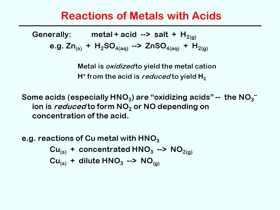 Reactions of Metals with Acids