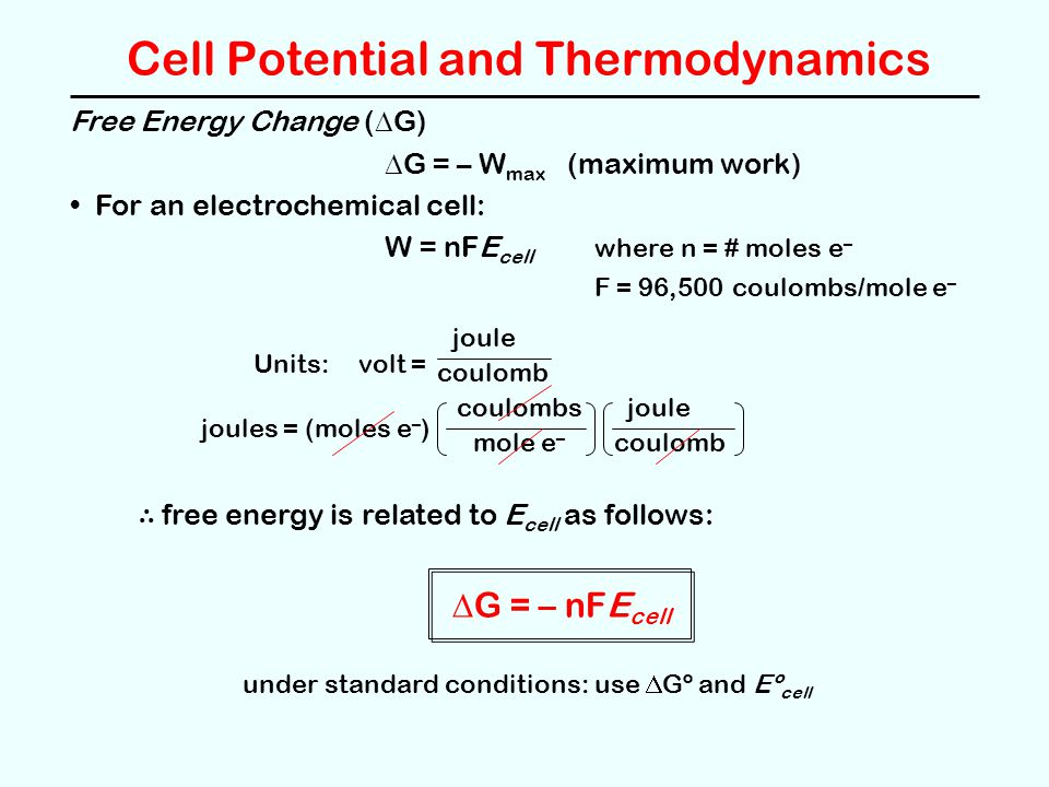 Cell Potential and Thermodynamics