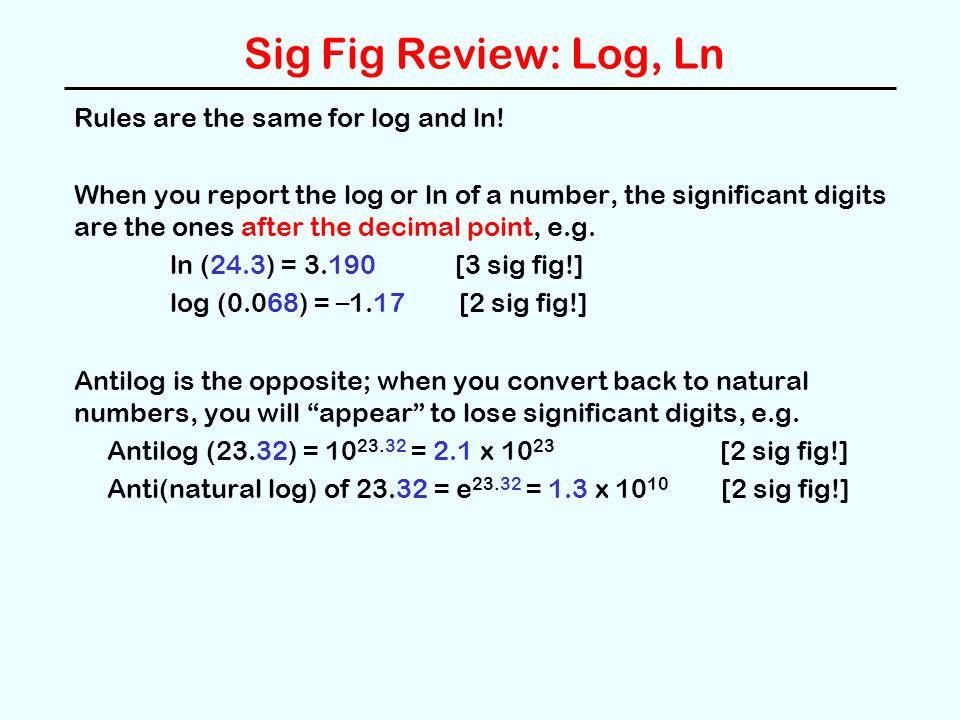 Sig Fig Review: Log, Ln