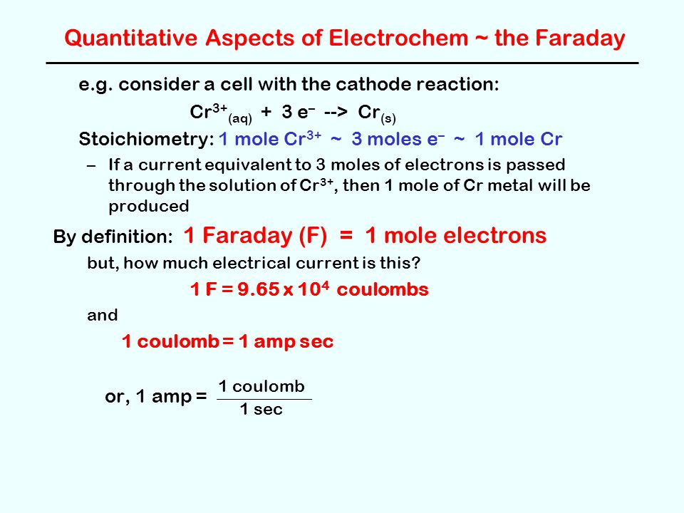 Quantitative Aspects of Electrochem ~ the Faraday