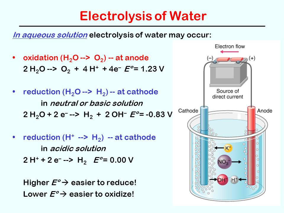 Electrolysis of Water In aqueous solution electrolysis of water may occur: oxidation (H2O --> O2) -- at anode.