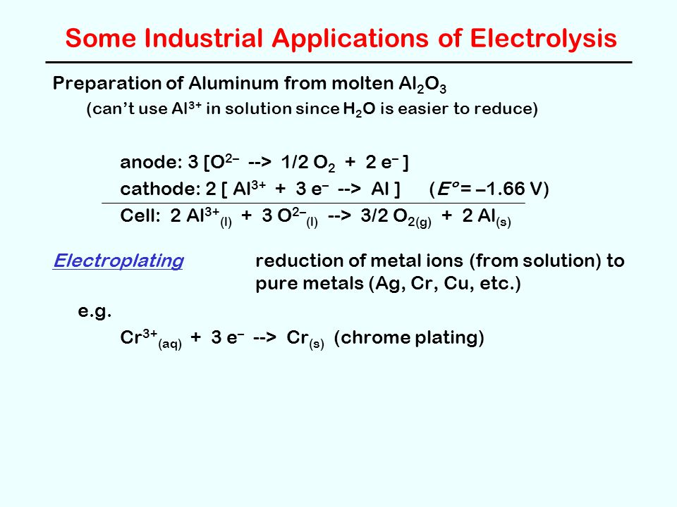 Some Industrial Applications of Electrolysis