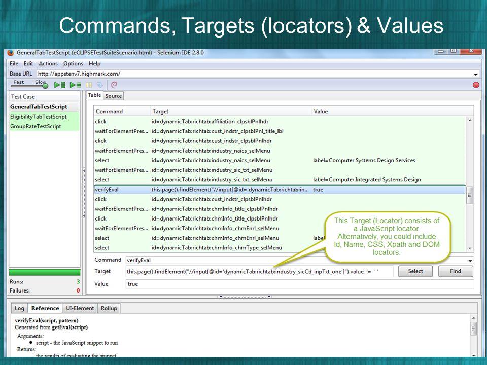 Commands, Targets (locators) & Values