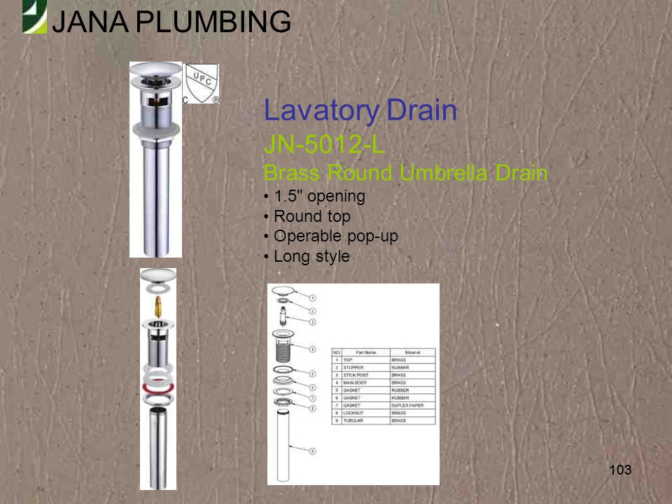 Lavatory Drain JN-5012-L Brass Round Umbrella Drain 1.5 opening