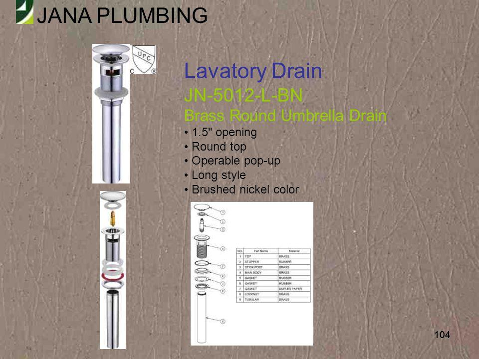 Lavatory Drain JN-5012-L-BN Brass Round Umbrella Drain 1.5 opening
