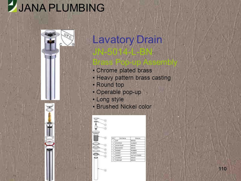 Lavatory Drain JN-5014-L-BN Brass Pop-up Assembly Chrome plated brass