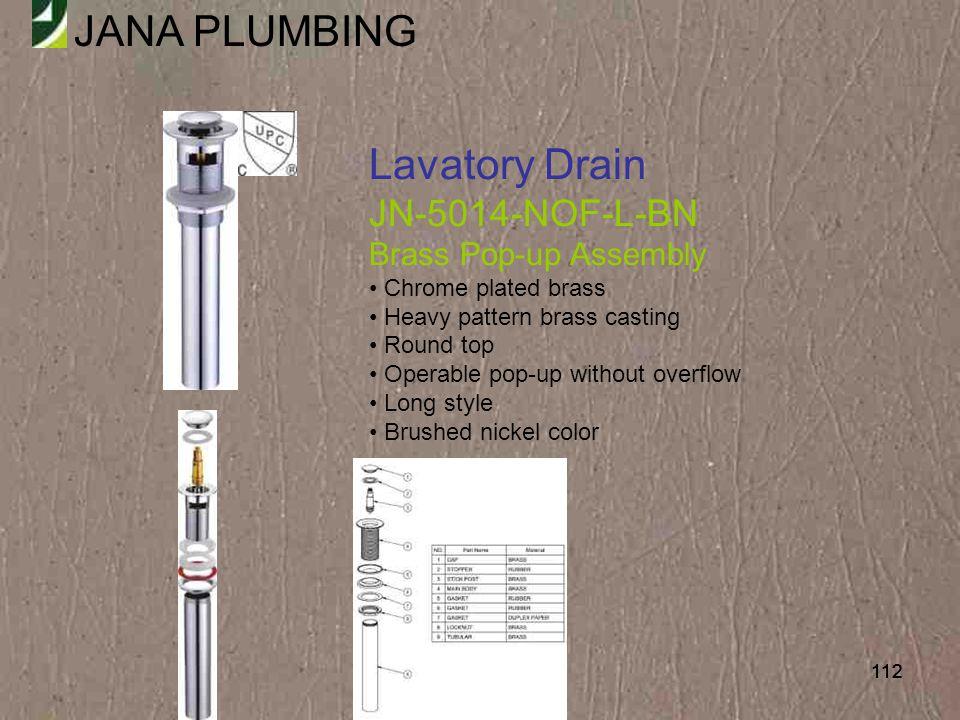 Lavatory Drain JN-5014-NOF-L-BN Brass Pop-up Assembly