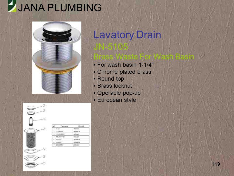 Lavatory Drain JN-5105 Brass Waste For Wash Basin