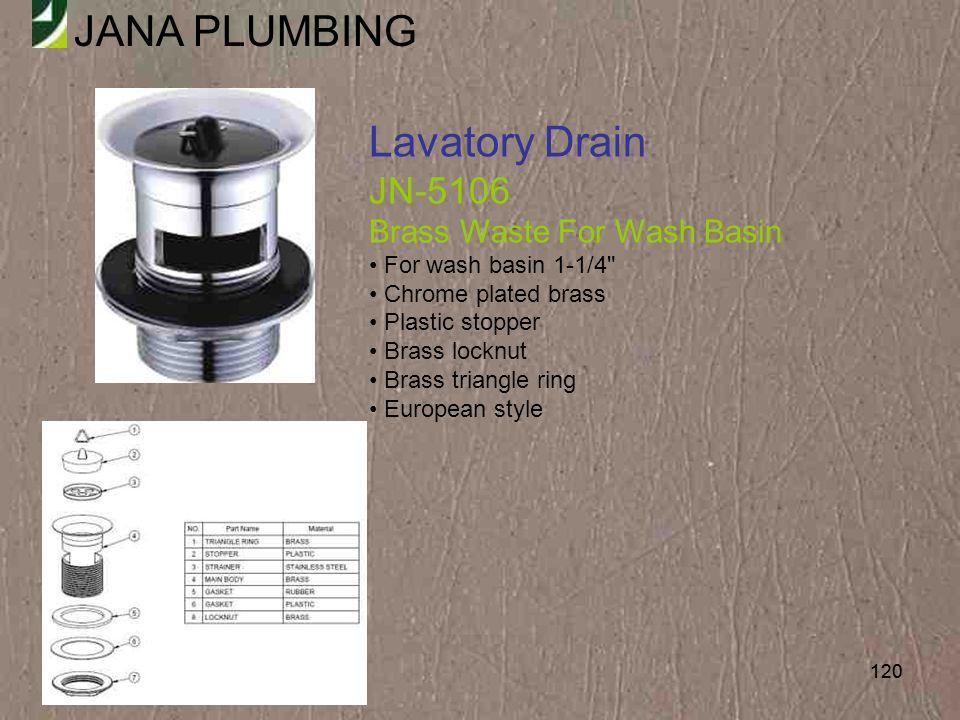 Lavatory Drain JN-5106 Brass Waste For Wash Basin