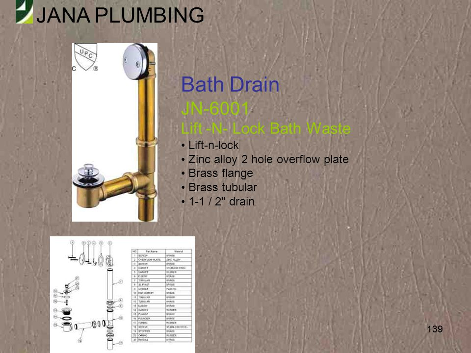 Bath Drain JN-6001 Lift -N- Lock Bath Waste Lift-n-lock