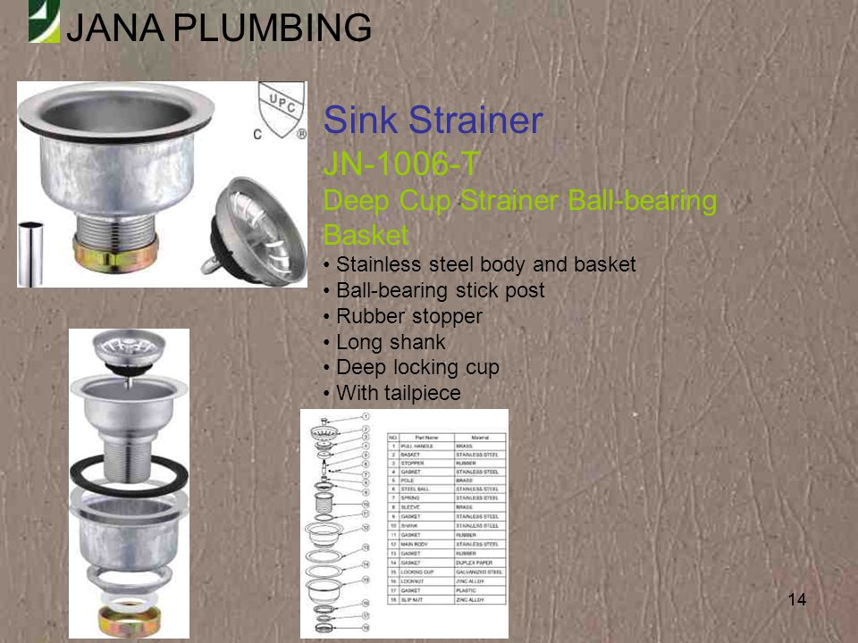 Sink Strainer JN-1006-T Deep Cup Strainer Ball-bearing Basket