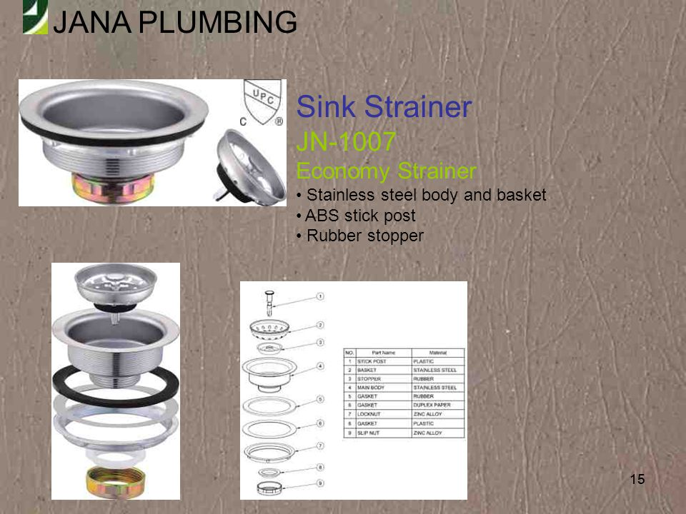 Sink Strainer JN-1007 Economy Strainer Stainless steel body and basket