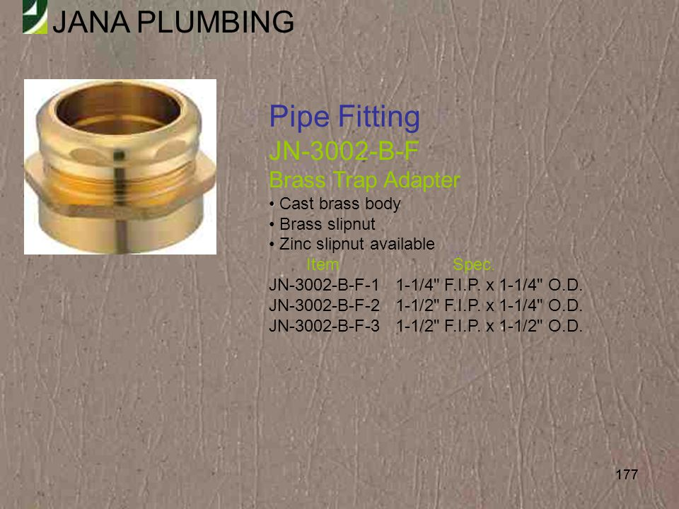 Pipe Fitting JN-3002-B-F Brass Trap Adapter Cast brass body