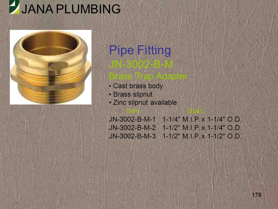 Pipe Fitting JN-3002-B-M Brass Trap Adapter Cast brass body