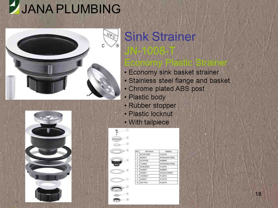 Sink Strainer JN-1008-T Economy Plastic Strainer