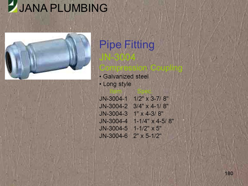 Pipe Fitting JN-3004 Compression Coupling Galvanized steel Long style