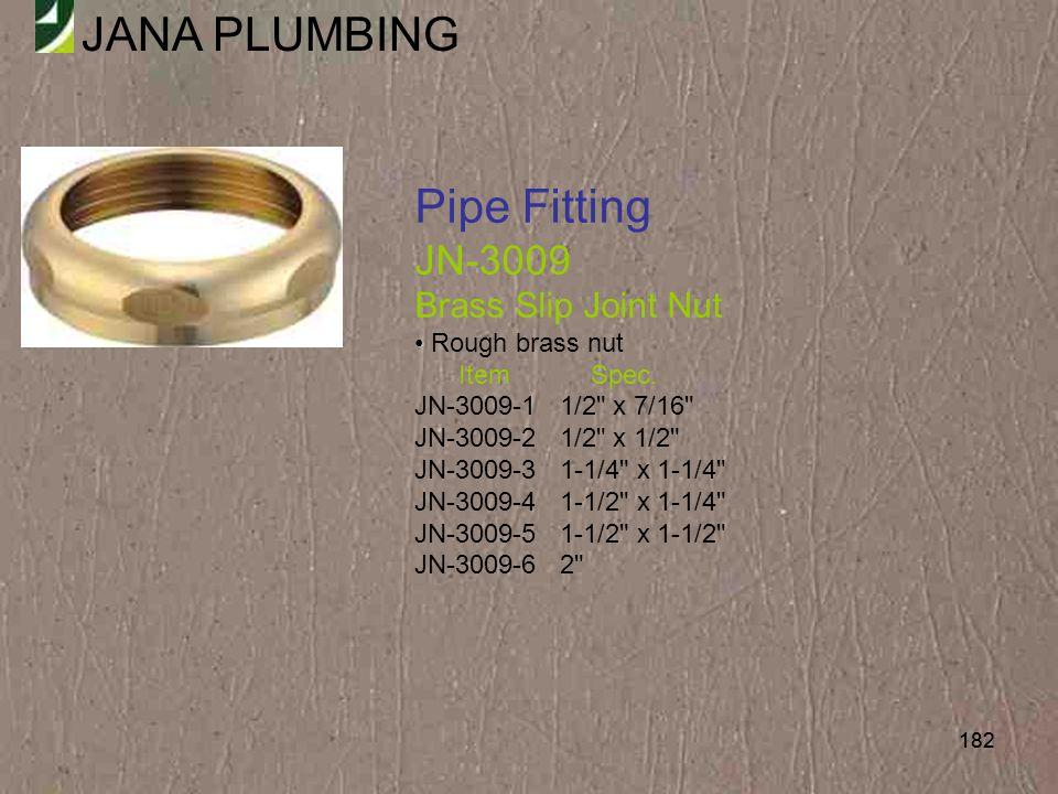 Pipe Fitting JN-3009 Brass Slip Joint Nut Rough brass nut Item Spec.