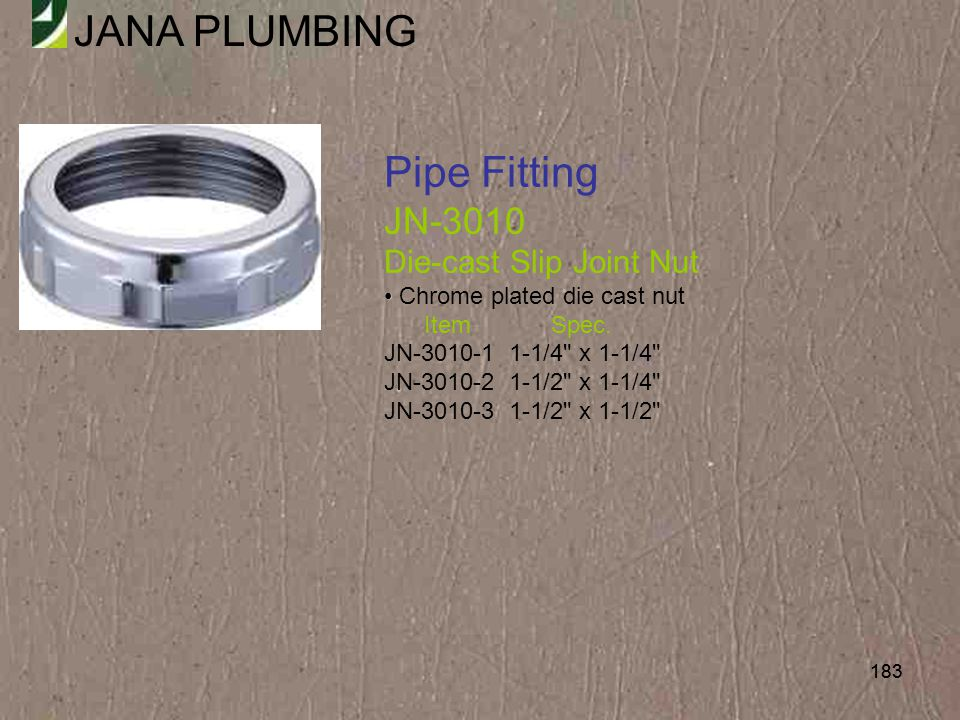 Pipe Fitting JN-3010 Die-cast Slip Joint Nut