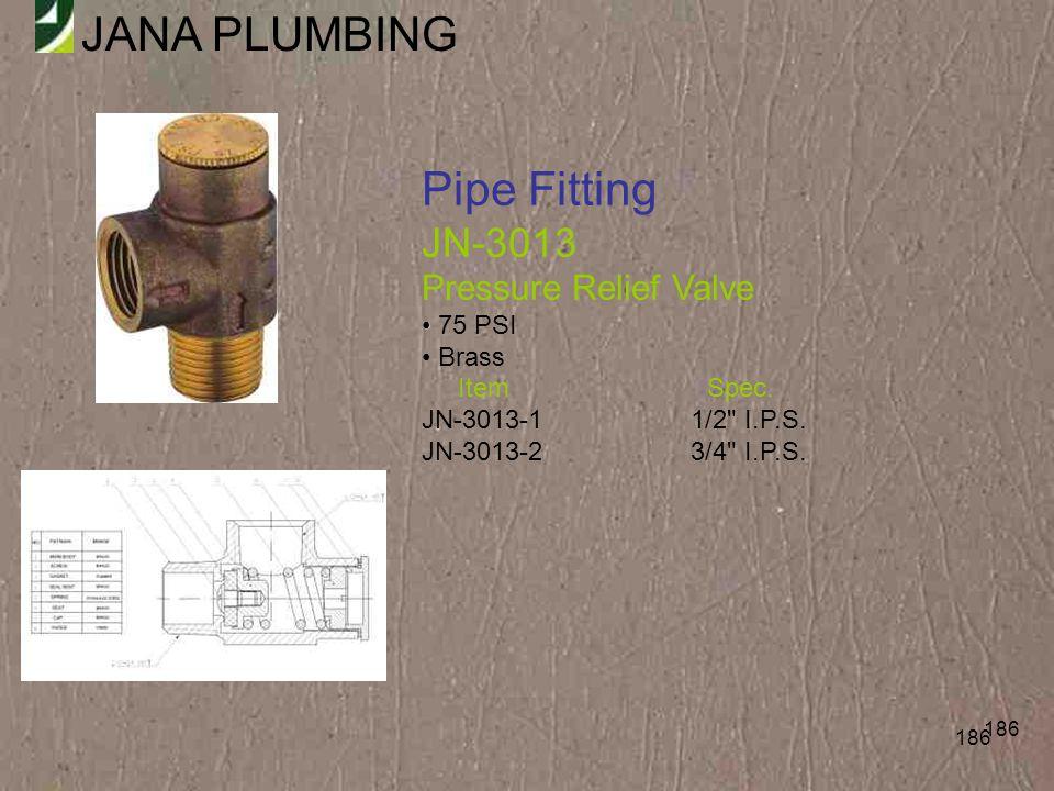 Pipe Fitting JN-3013 Pressure Relief Valve 75 PSI Brass Item Spec.
