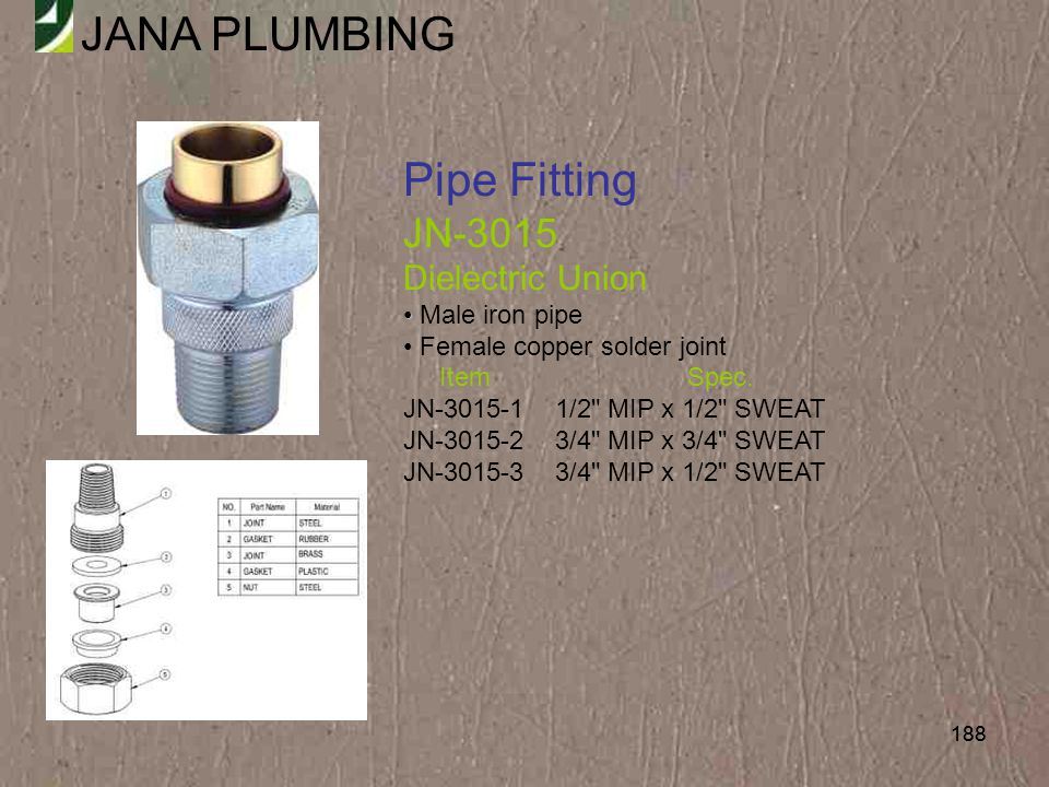 Pipe Fitting JN-3015 Dielectric Union Male iron pipe