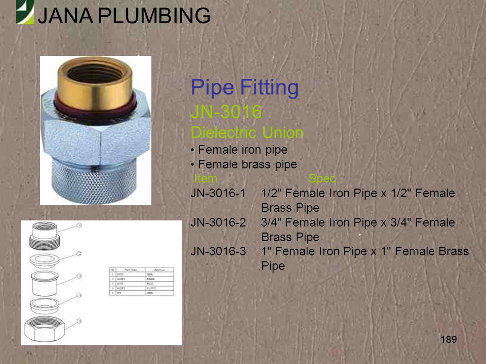Pipe Fitting JN-3016 Dielectric Union Female iron pipe