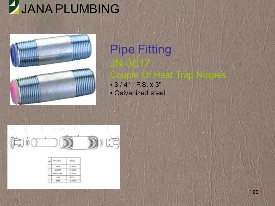 Pipe Fitting JN-3017 Couple Of Heat Trap Nipples • 3 / 4 I.P.S. x 3