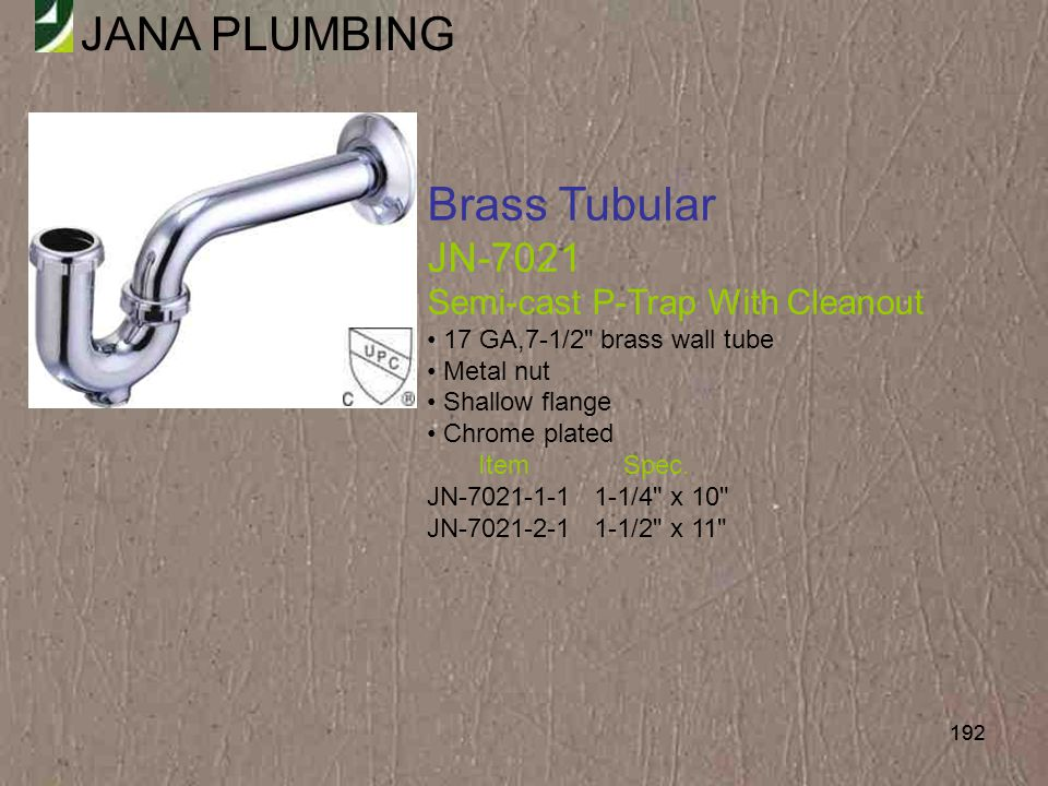 Brass Tubular JN-7021 Semi-cast P-Trap With Cleanout