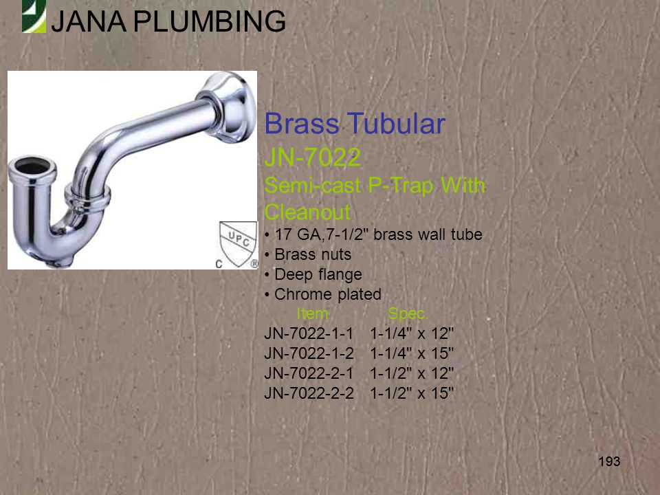 Brass Tubular JN-7022 Semi-cast P-Trap With Cleanout