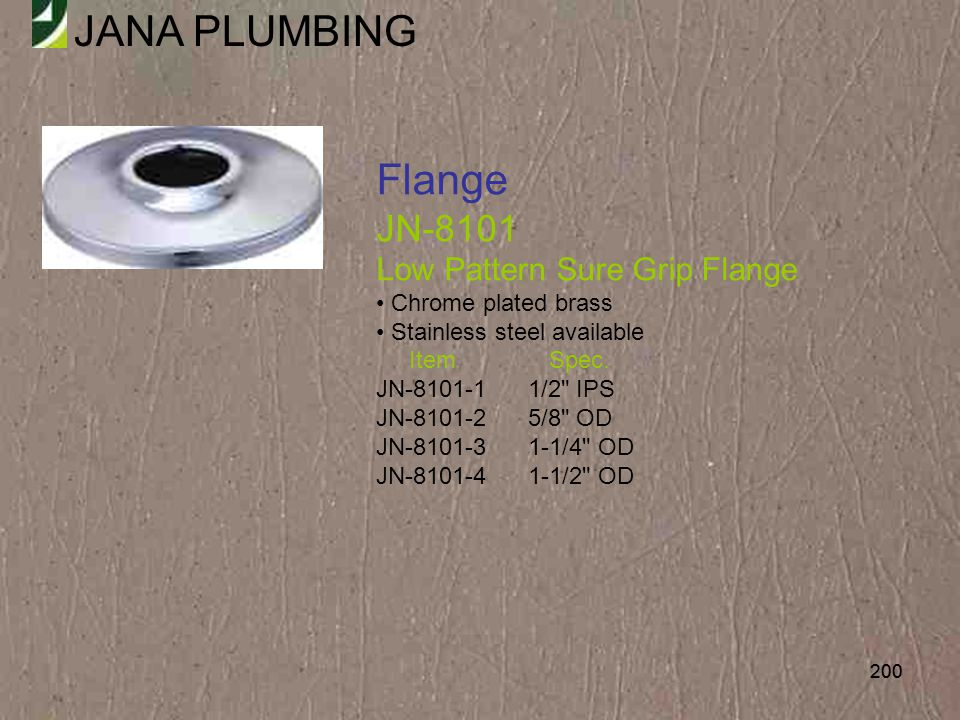 Flange JN-8101 Low Pattern Sure Grip Flange Chrome plated brass