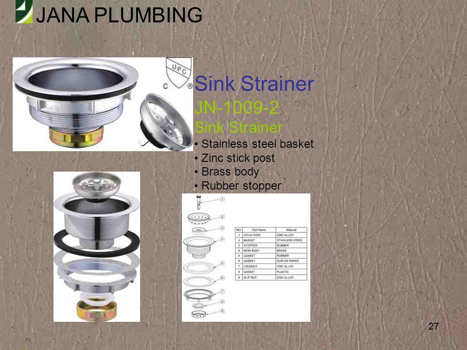 Sink Strainer JN-1009-2 Stainless steel basket Zinc stick post