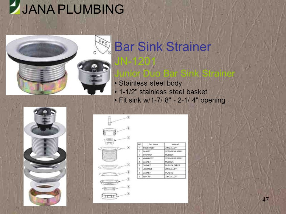 Bar Sink Strainer JN-1201 Junior Duo Bar Sink Strainer