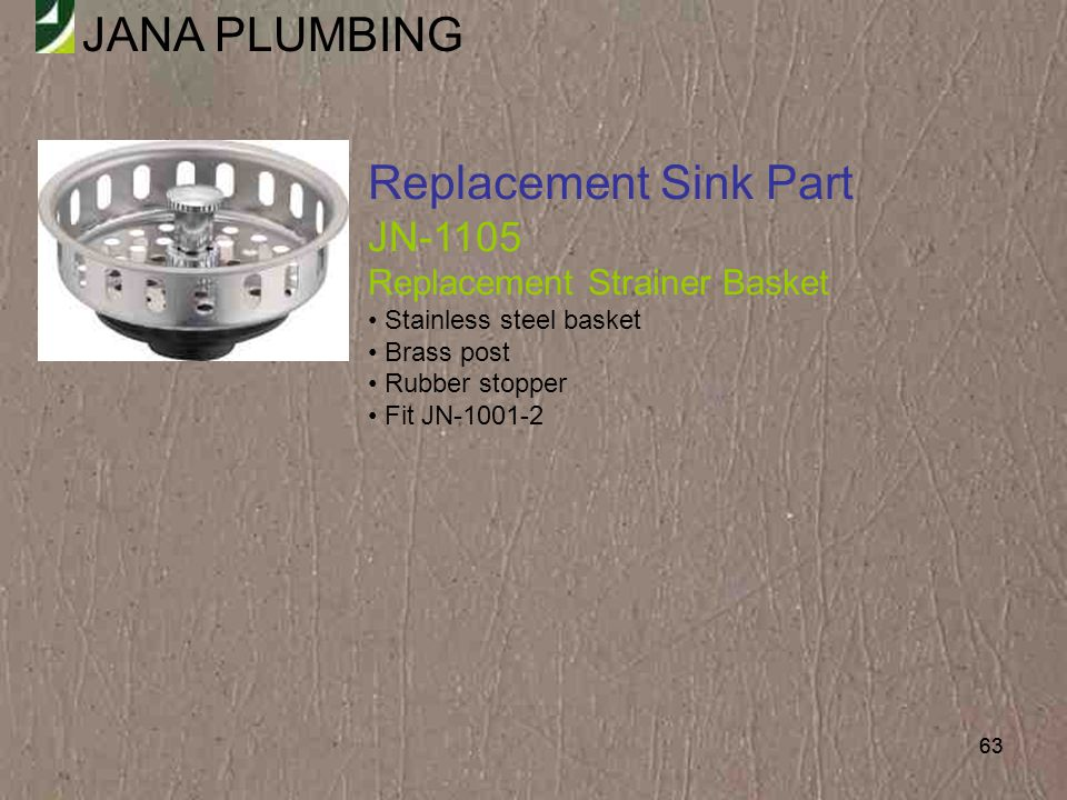 Replacement Sink Part JN-1105 Replacement Strainer Basket