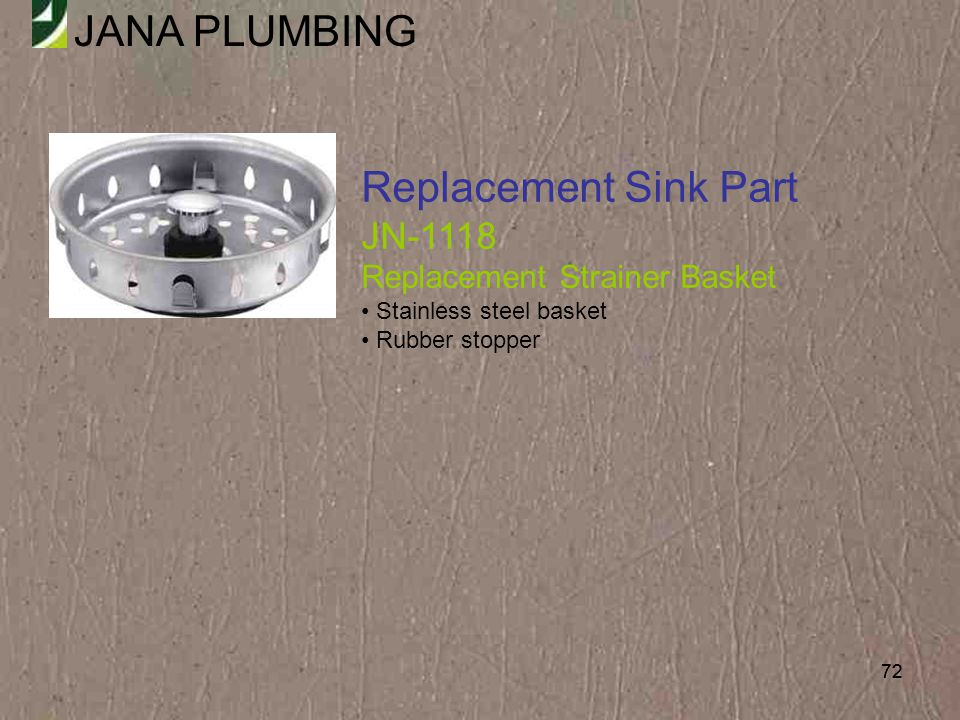 Replacement Sink Part JN-1118 Replacement Strainer Basket