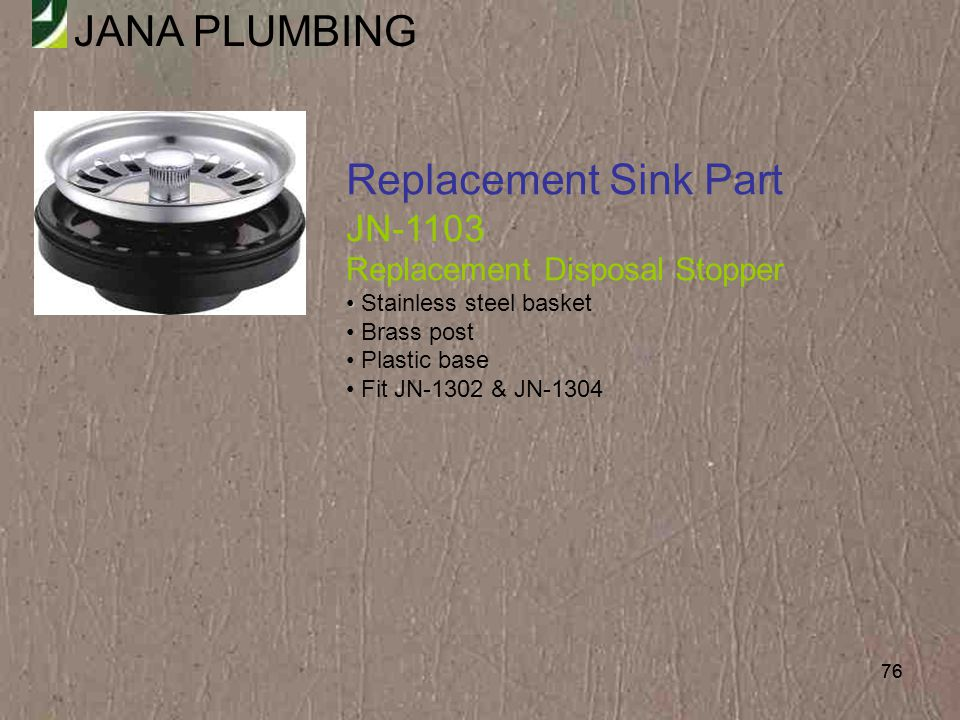 Replacement Sink Part JN-1103 Replacement Disposal Stopper