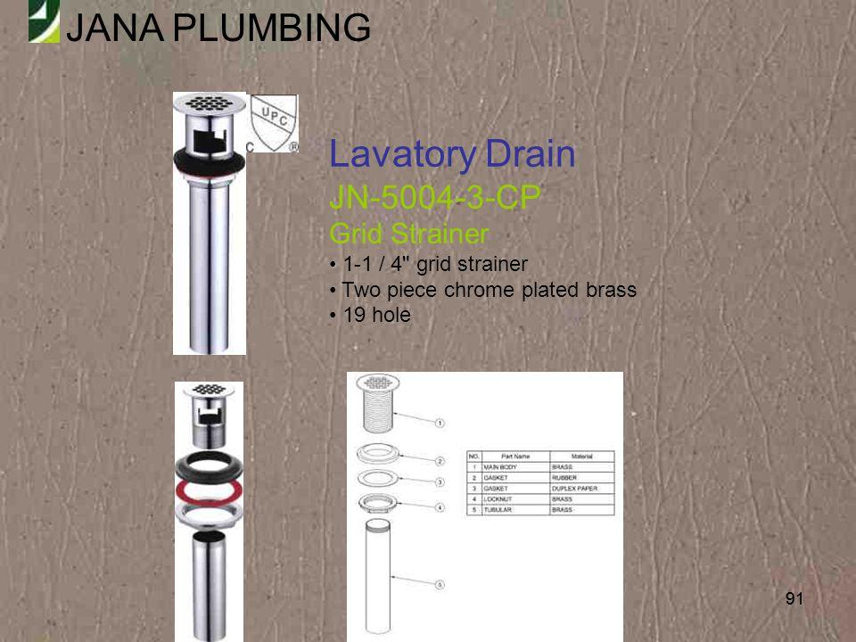 Lavatory Drain JN-5004-3-CP Grid Strainer 1-1 / 4 grid strainer