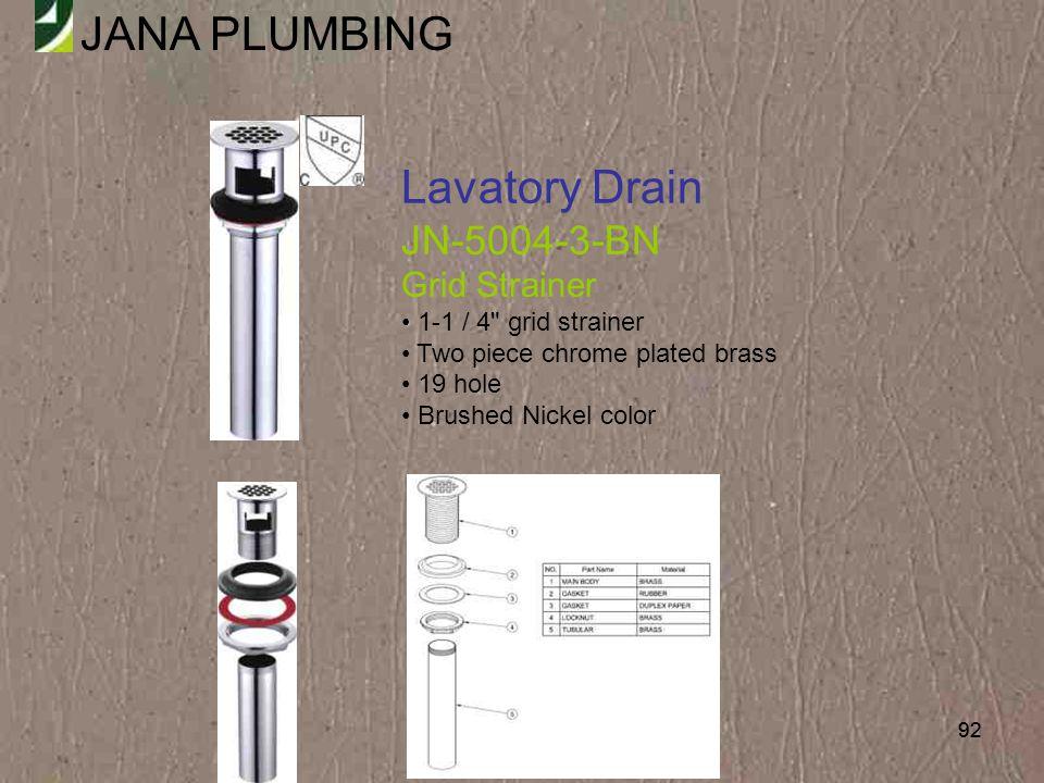 Lavatory Drain JN-5004-3-BN Grid Strainer 1-1 / 4 grid strainer