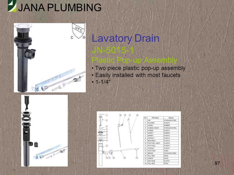 Lavatory Drain JN-5015-1 Plastic Pop-up Assembly