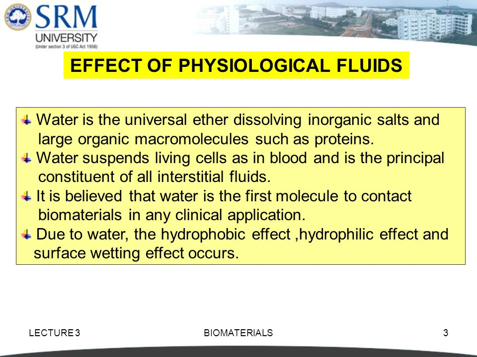 EFFECT OF PHYSIOLOGICAL FLUIDS